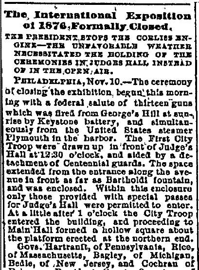 The International Exposition of 1876 Formally Closed, Critic-Record newspaper article, 11 November 1876