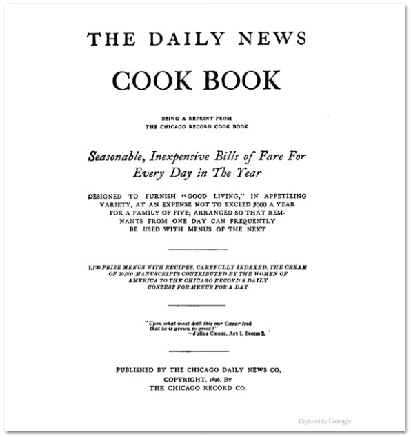 The Daily News Cookbook, 1896, title page