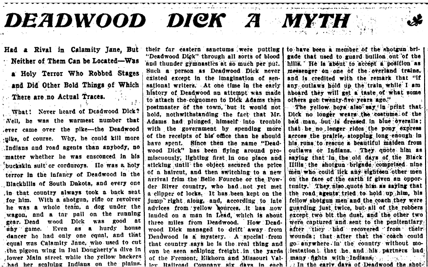 Deadwood Dick a Myth, Daily People newspaper article 26 April 1903