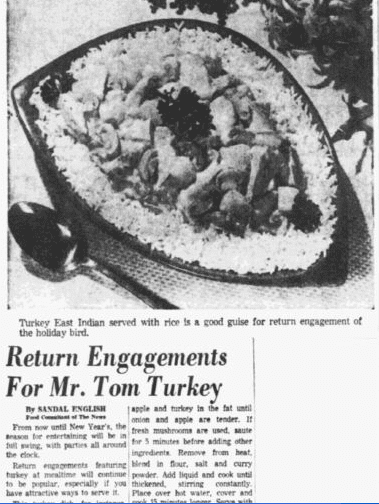 Return Engagements for Mr. Tom Turkey, Dallas Morning News newspaper article 29 November 1953