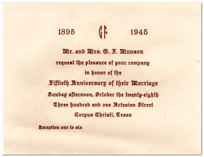 ephemera example: wedding anniversary invitation