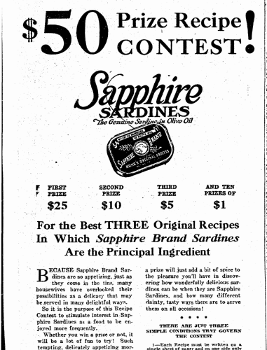 $50 Prize Recipe Contest!, Evening Tribune newspaper article 12 April 1923