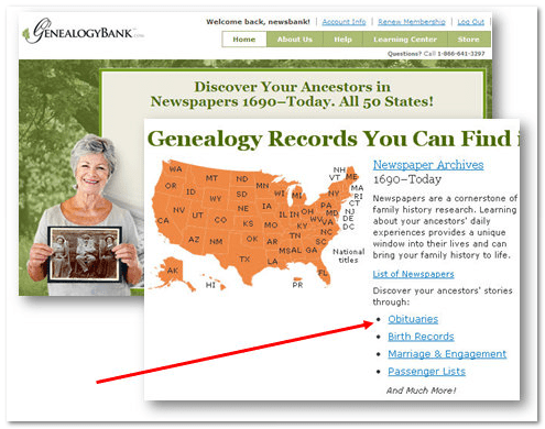 GenealogyBank home page showing obituaries link