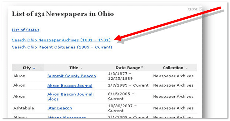 GenealogyBank landing page to access its 131 Ohio newspapers
