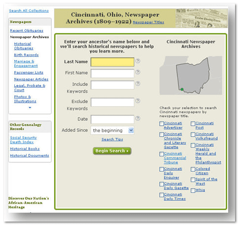 search form for GenealogyBank's Cincinnati newspaper archives