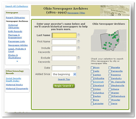 search form for GenealogyBank's Ohio newspaper archives