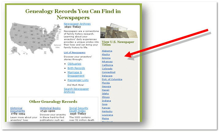 GenealogyBank's list of U.S. states for selecting newspapers to be searched