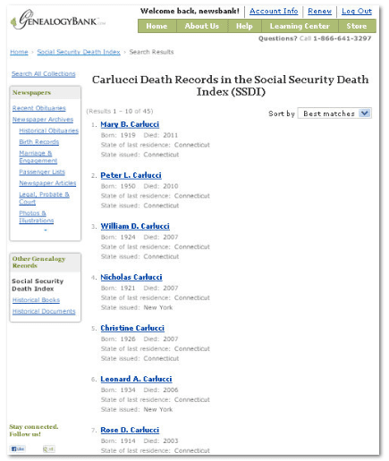 search results in GenealogyBank's SSDI for the Carlucci family in Fairfield County, Connecticut