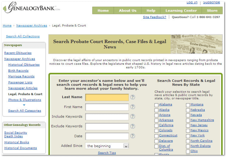 "GenealogyBank's ""Probate Court Records, Case Files & Legal News"" search form"