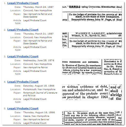 "GenealogyBank search results page showing sample ""Legal/Probate/Court"" records"