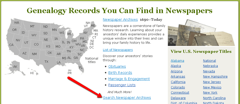 """GenealogyBank homepage with """"Search Newspaper Archives"""" link"""