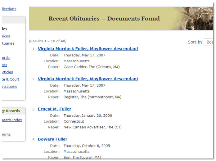 "GenealogyBank recent obituary search results for the terms ""Mayflower Samuel Fuller"""