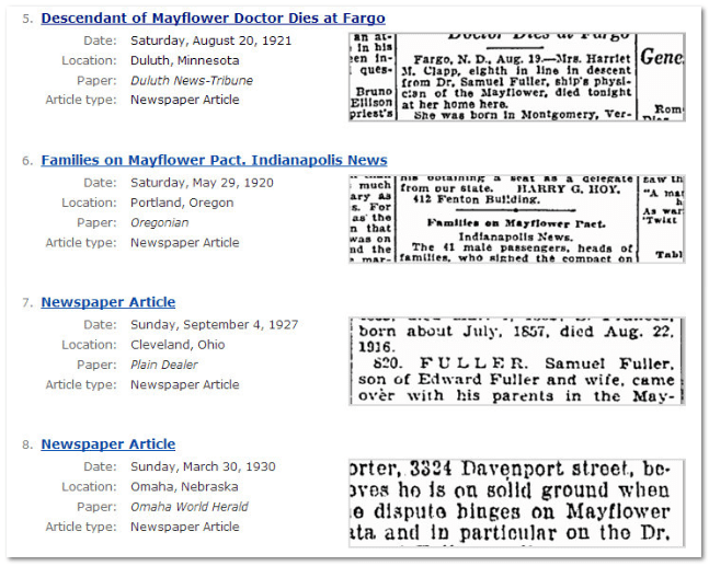 "GenealogyBank newspaper search results for the terms ""Mayflower Samuel Fuller"""