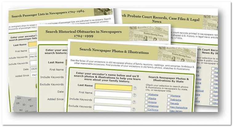 GenealogyBank targeted search pages
