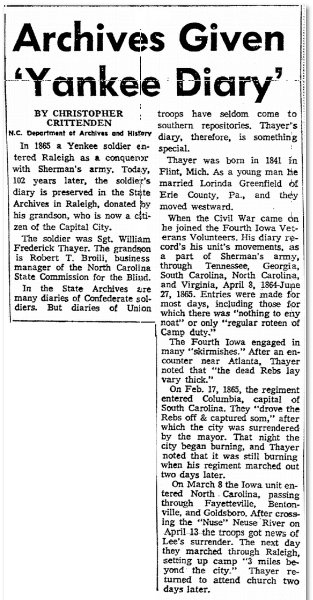 Archives Given 'Yankee Diary,' Greensboro Record newspaper article 8 November 1967