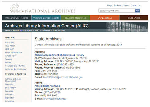National Archives and Records Administration's state archives website