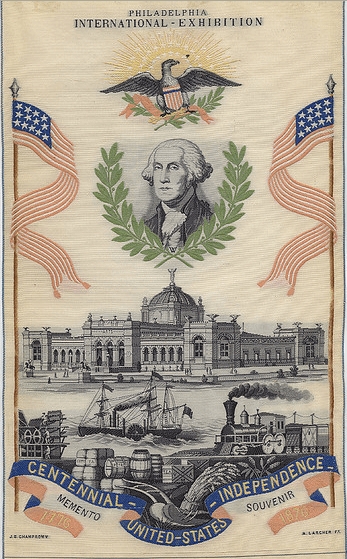 Philadelphia International Exhibition souvenir ribbon, 1876, from the Cornell University Collection of Political Americana, Cornell University Library