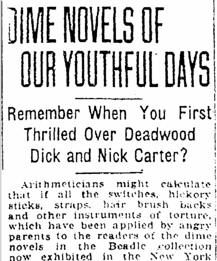 Diime Novels of Our Youthful Days, Jackson Citizen Patriot newspaper article 16 August 1922