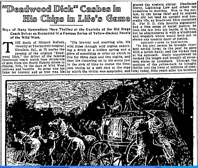 """Deadwood Dick"" Cashes in His Chips in Life's Game, Kansas City Star newspaper article 16 February 1920"