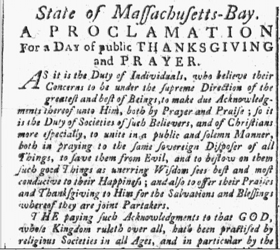 Proclamation for a Day of Public Thanksgiving and Prayer, New-England Chronicle newspaper article 28 November 1776