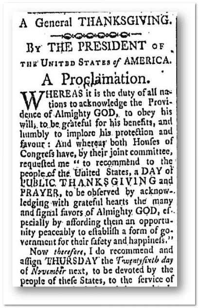 A General Thanksgiving, New Hampshire Gazette newspaper article 22 October 1789