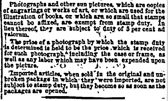 exceptions to the stamp tax on photographs, New York Herald-Tribune newspaper article 13 April 1865