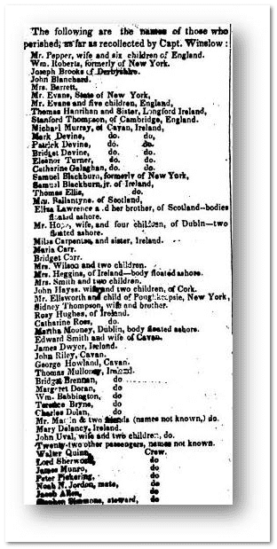 list of dead passengers from shipwreck, Newark Daily Advertiser newspaper article 5 January 1837
