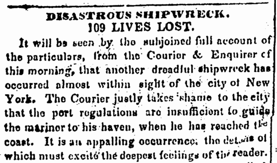 Disastrous Shipwreck, Newark Daily Advertiser newspaper article 5 January 1837
