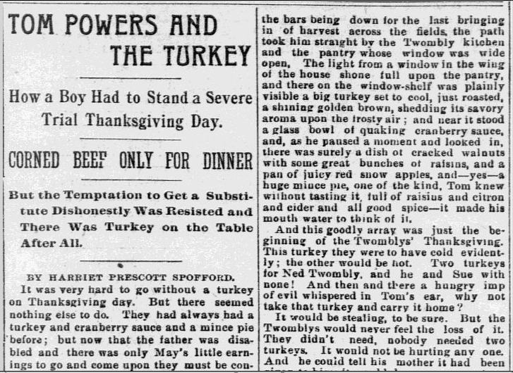 Tom Powers and the Turkey, Philadelphia Inquirer newspaper article 22 November 1891