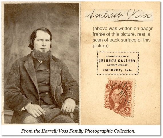 Civil War-era photograph with a revenue stamp affixed to the back
