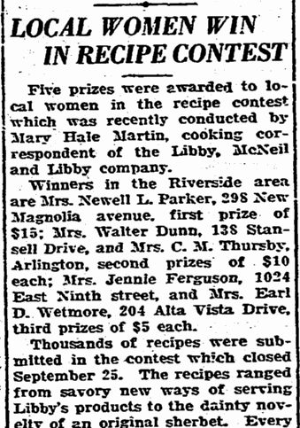 Local Women Win in Recipe Contest, Riverside Daily Press newspaper article 19 October 1928
