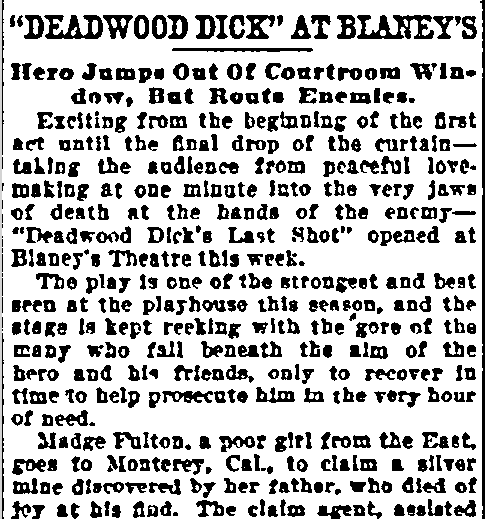 """Deadwood Dick"" at Blaney's, Sun newspaper article 26 November 1907"