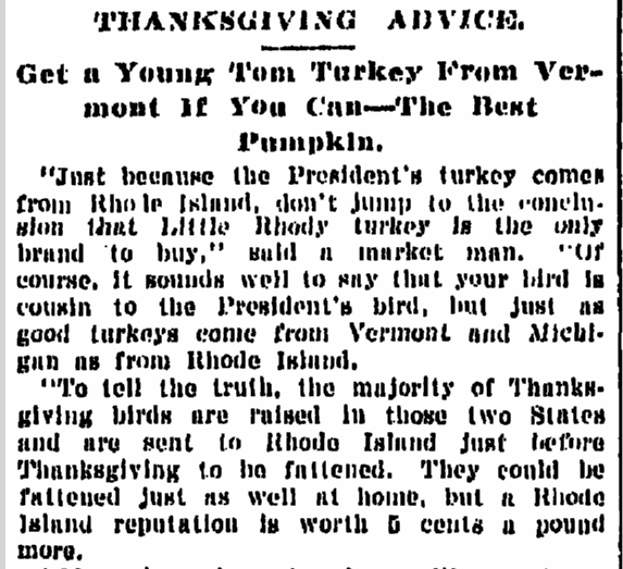 Thanksgiving Advice, Times-Picayune newspaper article 25 November 1906