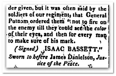 Revolutionary War recollections about General Putnam, Boston Centinel newspaper article 5 August 1818