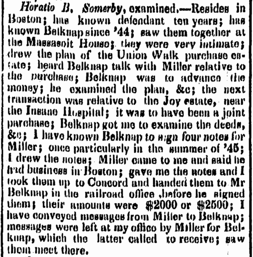 forgery trial report, Boston Herald newspaper article 13 October 1848