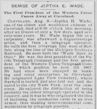 Demise of Jeptha E. Wade, Chicago Herald newspaper article 10 August 1890