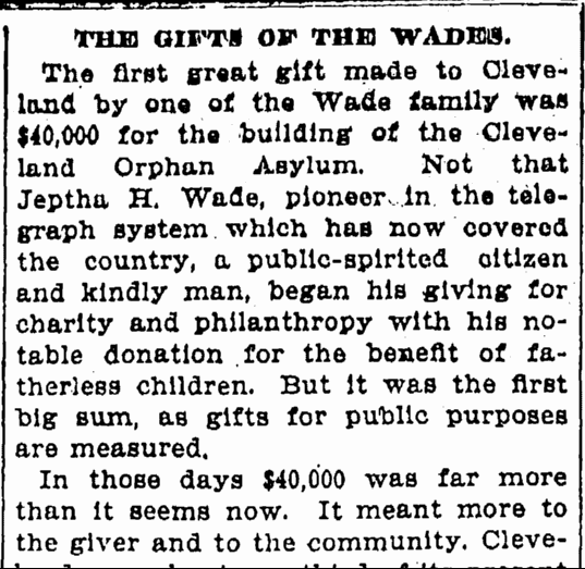 The Gifts of the Wades, Cleveland Leader newspaper article 10 May 1902