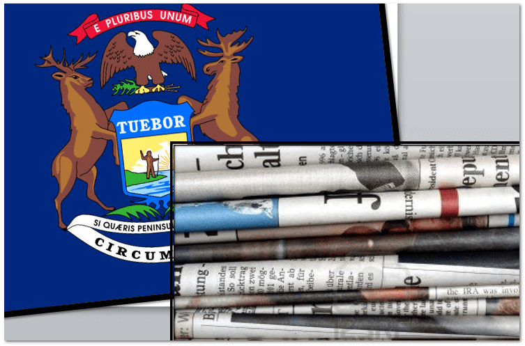 collage of Michigan newspapers and state flag