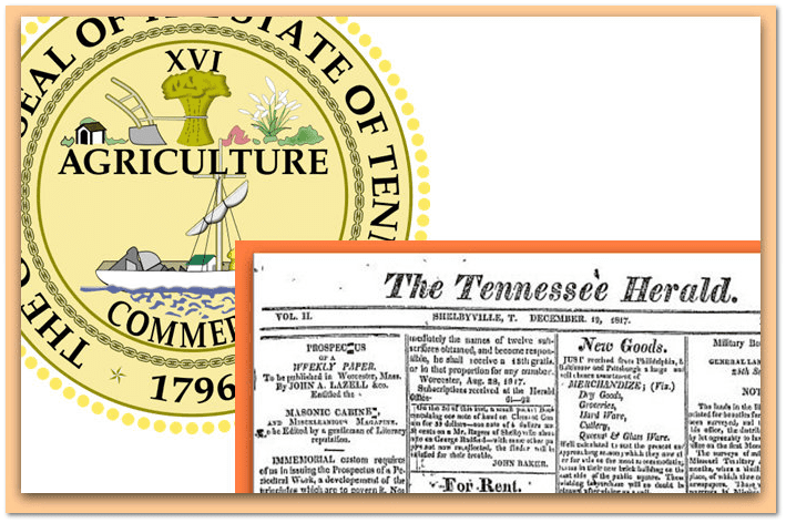 collage of the Tennessee state seal and the Tennessee Herald masthead