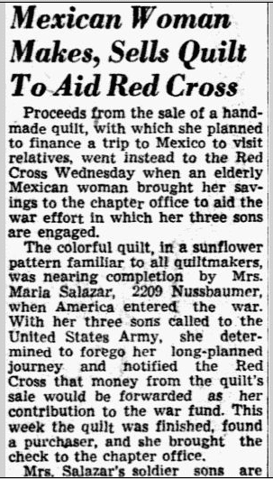 Mexican Woman Makes, Sells Quilt to Aid Red Cross, Dallas Morning News newspaper article 12 February 1942