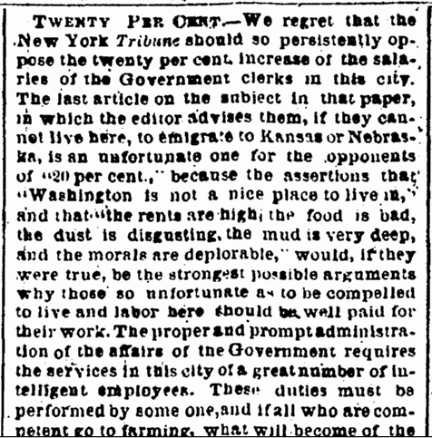 Twenty Per Cent., Evening Star newspaper article 14 December 1867