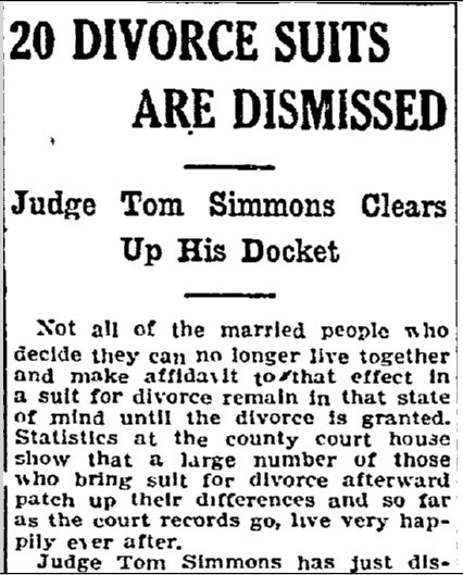 20 Divorce Suits Are Dismissed, Fort Worth Star-Telegram newspaper article 4 February 1908