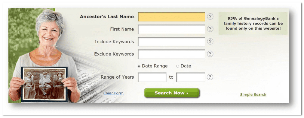 GenealogyBank search form with Date Range option selected