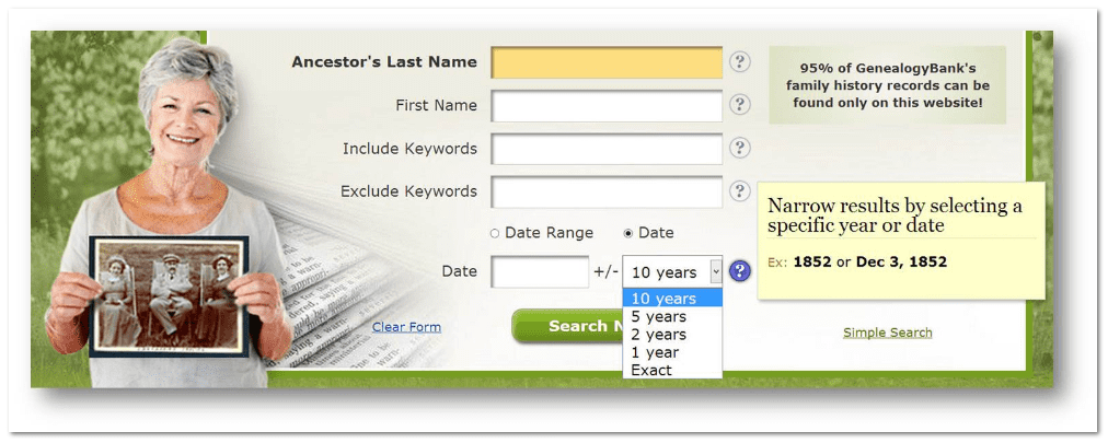 GenealogyBank search form with specific Date option selected