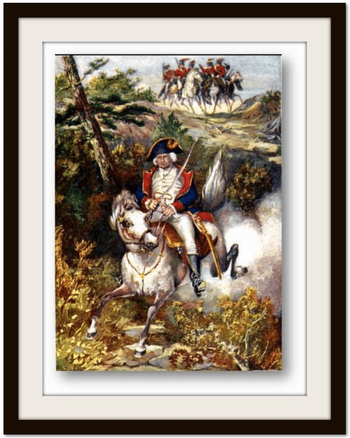 illustration of Revolutionary War hero General Putnam escaping the British at Greenwich, Connecticut