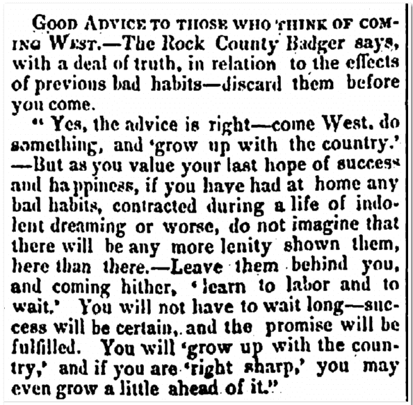 Good Advice to Those Who Think of Coming West, Irish American Weekly newspaper article 29 June 1850