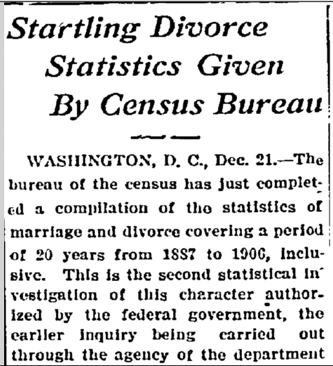 Startling Divorce Statistics Given by Census Bureau, Morning Olympian newspaper article 22 December 1908