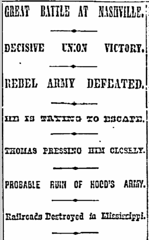 Great Battle at Nashville, New York Herald-Tribune newspaper article 17 December 1864