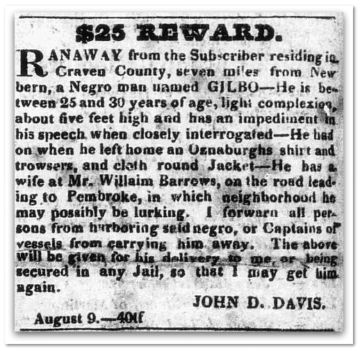 $25 Reward: runaway slave ad, North Carolina Sentinel newspaper article 9 August 1828