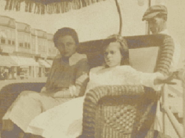 "Photo: detail from a photograph of Ina Cottle Phillips, seated in the rear, ""On the Boardwalk with the Wades"""